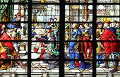 PARIS - NOV 07, 2012: Wisdom of Solomon: Judgement of Solomon, stained glass, church is dedicated Ge