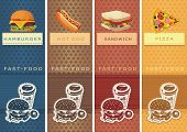 Fast food Vector Labels for product. Information Food Template Banner.