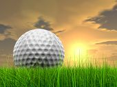 Green, fresh and natural 3d conceptual grass over sunset sky background with  golf ball at horizon