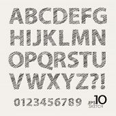 Set of Sketch Font Vector Alphabet and Numbers
