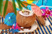 Iced Coffee Served In Coconut Shell