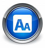 Font Size Box Icon Glossy Blue Button