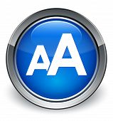 Font Size Icon Glossy Blue Button
