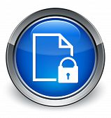 Secure Page Document Icon Glossy Blue Button