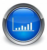 Statistics Icon Glossy Blue Button