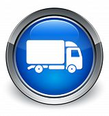 Truck Icon Glossy Blue Button