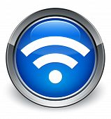 Wifi Icon Glossy Blue Button