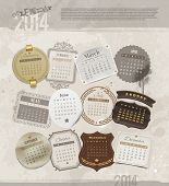 Vector design template with grunge vintage calendar of 2014 - different frames and labels for each m