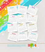 Vector design template - Cardboards with calendar of 2014 on a grunge colorful painted background