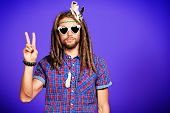 picture of hippy  - Portrait of a hippie young man in spectacles - JPG