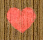 Heart Drawing In Wood Wall Mockup