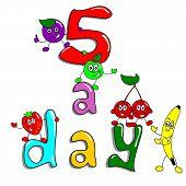 5 a day fruit cartoon