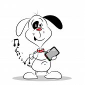 Cartoon Dog with Mobile Phone