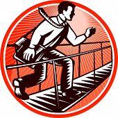 Businessman Satchel Bag Running Bridge