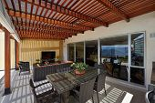 Interior design: Beautiful modern terrace lounge with pergola