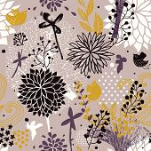 Abstract floral seamless pattern in vintage colors. Seamless pattern can be used for wallpapers, pat
