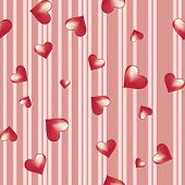 Hearts On A Striped Background