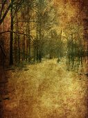 foto of manila paper  - Vintage grunge yellow paper texture with winter bare trees landscape. ** Note: Soft Focus at 100%, best at smaller sizes - JPG