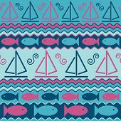 Sailboats And Fish Pattern