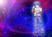 pic of manga  - Manga style illustration of zodiac sign on cosmic background - JPG