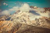 Rocky Mountains With Clouds And Glacier Snow Beautiful Landscape Caucasus Nature