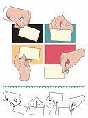 Hand holding blank card set