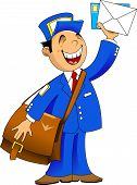 stock photo of postman  - postman in blue uniform with a big bag brought letters vector - JPG