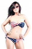 American girl in a bathing suit