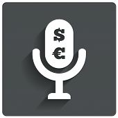 Paid Music icon. Microphone dollar, euro symbol.