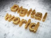 Information concept: Golden Digital World on digital background