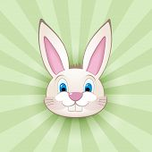 Cartoon bunny head on green