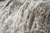 Detail of water from Detifoss waterfall. Dettifoss is the most powerful waterfall on Iceland and in