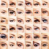 Collection of many female eyes with a different makeup