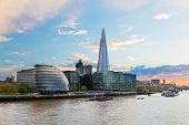 London, England the UK. The Shard, City Hall, River Thames at the afternoon