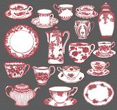 Fine China - Set of hand drawn porcelain teacups and saucers, teapots, plates, creamers etc, in pink