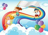 Illustration of the kids playing above the rainbow with an empty banner