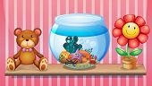 Illustration of a shelf with a bear, an aquarium and a toy flower