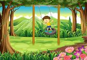 image of tire swing  - Illustration of a young boy playing with the tire swing - JPG