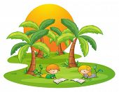 Illustration of the two kids in the island reading near the coconut trees on a white background