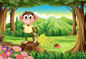 Illustration of a playful monkey above the stump at the forest with bananas