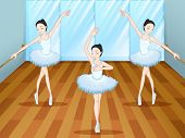 Illustration of the three ballet dancers dancing inside the studio
