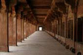 Empty Corridor In An Abandoned Fatehpur Sikri Temple Complex. Rajasthan, India