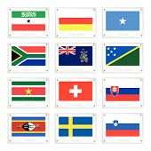 Set Of Countries Flags On Metal Texture Plates