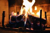 picture of cozy hearth  - Cozy up to a warm fire on a cold winter day - JPG