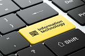 Information concept: Computer Pc and Information Technology on computer keyboard background