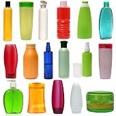 17 colored plastic bottles with liquid soap and shower gel isolated on white background . Studio sho