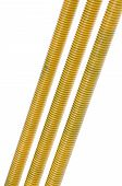 Yellow long threaded rod, construction industry