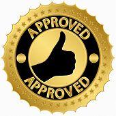 Approved golden label, vector illustration