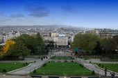 image of mona lisa  - Panoramic view on Paris from terrace od Sacre de Ceur Cathedral - JPG