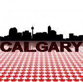 Calgary skyline with maple leaves foreground vector illustration